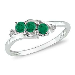 Black Hills Gold over Silver Created Emerald and Diamond Accent Ring