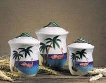 Theme Home Decor   Pink Flamingo Palm Tree Kitchen Canister Set of 3