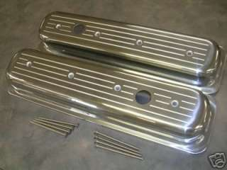 SBC ALUMINUM CENTER BOLT VALVE COVERS CHEVY STREET ROD