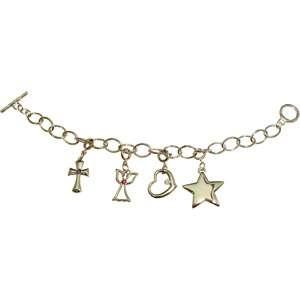 Cross, Angel, Heart and Star Silver Tone Charm Bracelet