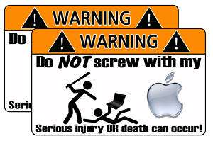Funny Apple warning sticker mac computer laptop decal