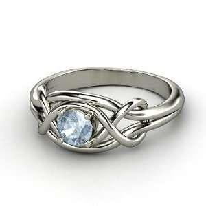 Infinity Knot Ring, Round Aquamarine Palladium Ring Jewelry