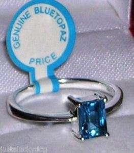 64ctww Emerald Cut Genuine Blue Topaz Ring