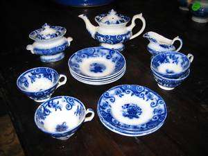 Antique Flow Blue Childs tea set Basket c1850