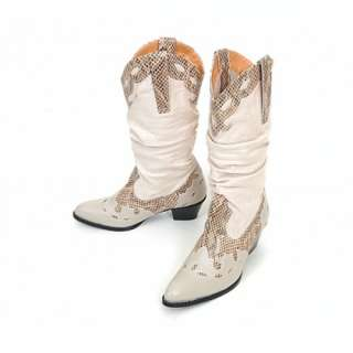 SPM 328013 Women Shoes Western Cowboy Style Heels Boots Beiges US