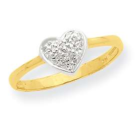 Gold w/Rhodium A .05 Carat Diamond Heart Ring in Multiple Sizes
