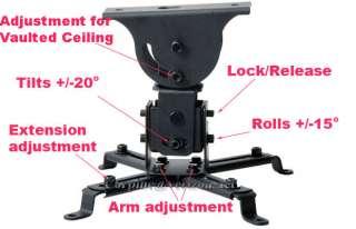 Projector Ceiling Mount Universal DLP LCD Bracket Tilt Swivel Black