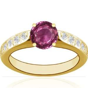 18K Yellow Gold Round Cut Pink Sapphire Ring With Sidestones Jewelry