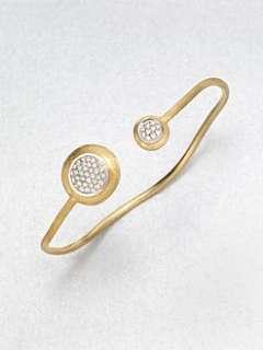 Marco Bicego   Diamond Accented 18K Gold Engraved Bangle Bracelet