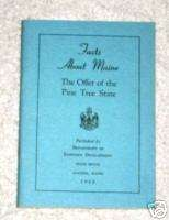 Facts About Maine Pine Tree State 1962 Augusta Booklet