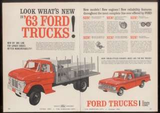 1963 red Ford pickup & flatbed truck unusual trade ad