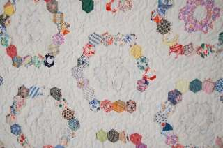 30s Grandmothers Flower Garden Antique Quilt ~SM PIECES