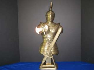 Rare Estate Large Brass Knight Armor Statue Sword & Axe