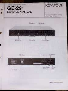Kenwood GE 291 Graphic Equalizer Service/Parts Manual