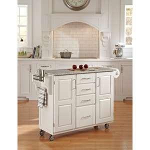 Home Styles Large Kitchen Cart, White / Salt & Pepper