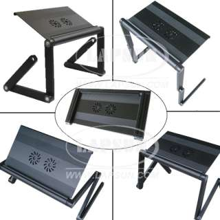Portable Laptop Table Desk Stand W/ Cooling Fan USB HUB