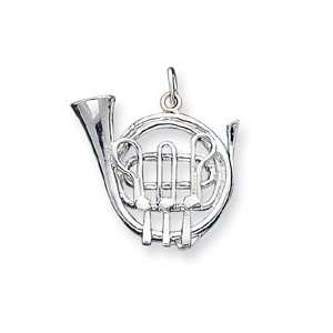 Sterling Silver French Horn Charm QC192 Jewelry