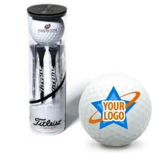 Titleist Custom Logo Standard 2 Ball Tube w/ Stock Tees   NXT