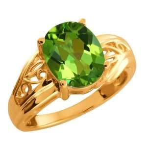 50 Ct Envy Green Oval Mystic Quartz and 14k Rose Gold Ring Jewelry