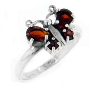 Sterling Silver Red Garnet Wing Butterfly Ring Size 7(Sizes 4,5,6,7,8)