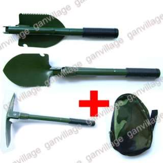 Green Military Camping Survival Folding Shovel Pick NEW |