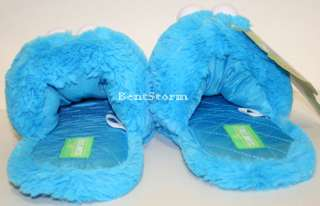 BLUE SESAME STREET COOKIE MONSTER Muppets plush ADULT Slippers ALL