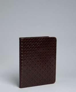 Salvatore Ferragamo brown gancio embossed leather iPad fold case
