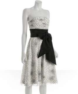BCBGMAXAZRIA off white dotted tulle strapless dress   up to 70