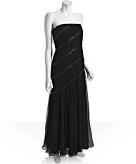 Tadashi Shoji black chiffon sequined trim strapless dress  BLUEFLY up