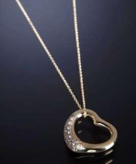 Tiffany & Co. Elsa Peretti gold open heart diamond pendant necklace