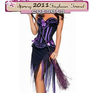 Hollween Party Corset Skirt Purple Fancy Witch Costume