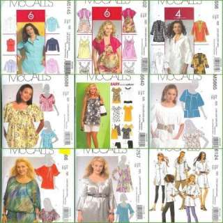 McCalls Sewing Pattern Blouses Tops Shirts Tunics Plus Size 18W 20W