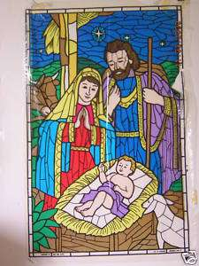 Stained Glass Stick On Mary, Joseph, and Baby Jesus