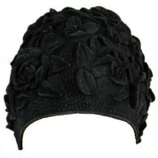 FLORAL EMBOSS VINTAGE STY LATEX SWIM CAP (Black)