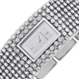 MICHAEL KORS Ladies Crystals Analog Watch Leather Strap