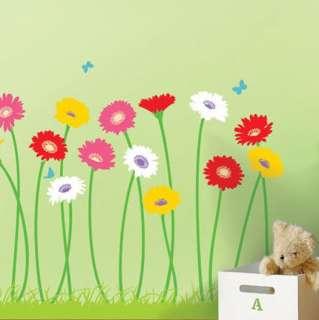 FLOWER & BUTTERFLY WALL DECAL DECO STICKER k#24
