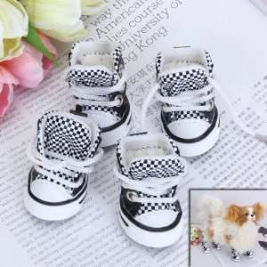 Black and White Check Pet Dog Boots Shoes Sneakers Set of