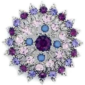 Brooch Pins Amethyst Purple Flower Swarovski Crystal Pin Brooch and